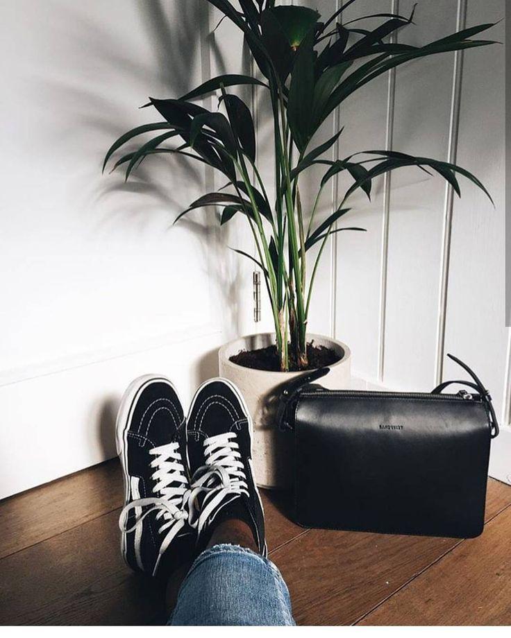 Franka in Black + Sneakers + Plant #Sandqvist #Leather #Black #Style