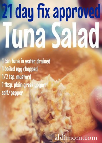 21 day fix tuna salad.  Use cottage cheese instead of yogurt