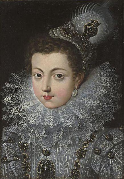 Isabel de Bourbon, Rainha de espanha. Gola de Rufos -  elemento do vestuário que se popularizou entre a segunda metade do século XVI e a primeira metade do século XVII.