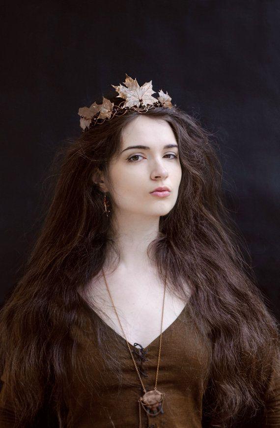 Faerie Girl Wallpaper Copper Leaves Crown Fall Queen Electroformed Maple Oak