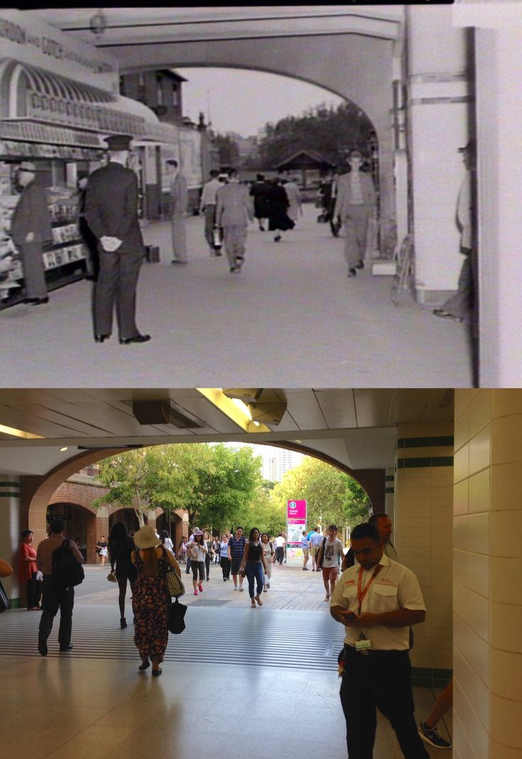 The Eddy Avenue entrance to Central Station in 1953 and in 2016. [1953 -