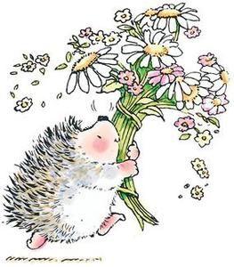 *Penny Black Rubber Stamp HEDGEHOG BOUQUET Hedgy Flowers 1444k