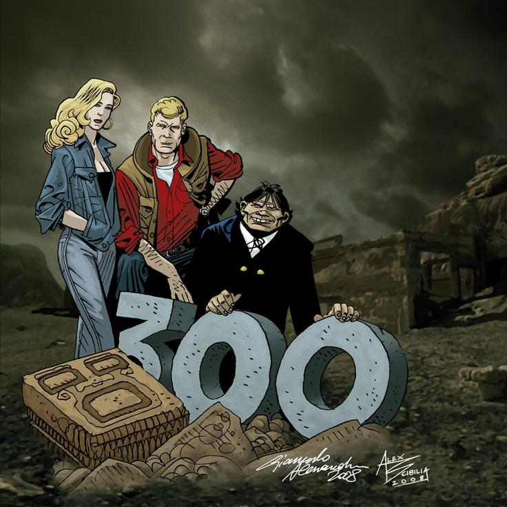 "Original image for the celebration of the 300th issue of the Italian comic ""Martin Mystère"" by Alfredo Castelli. Drawing: @ Giancarlo Alessandrini, colouring: @ Alessandro Scibilia. Image from Autunnonero 2008 brochure ""The Twilight Zone"""