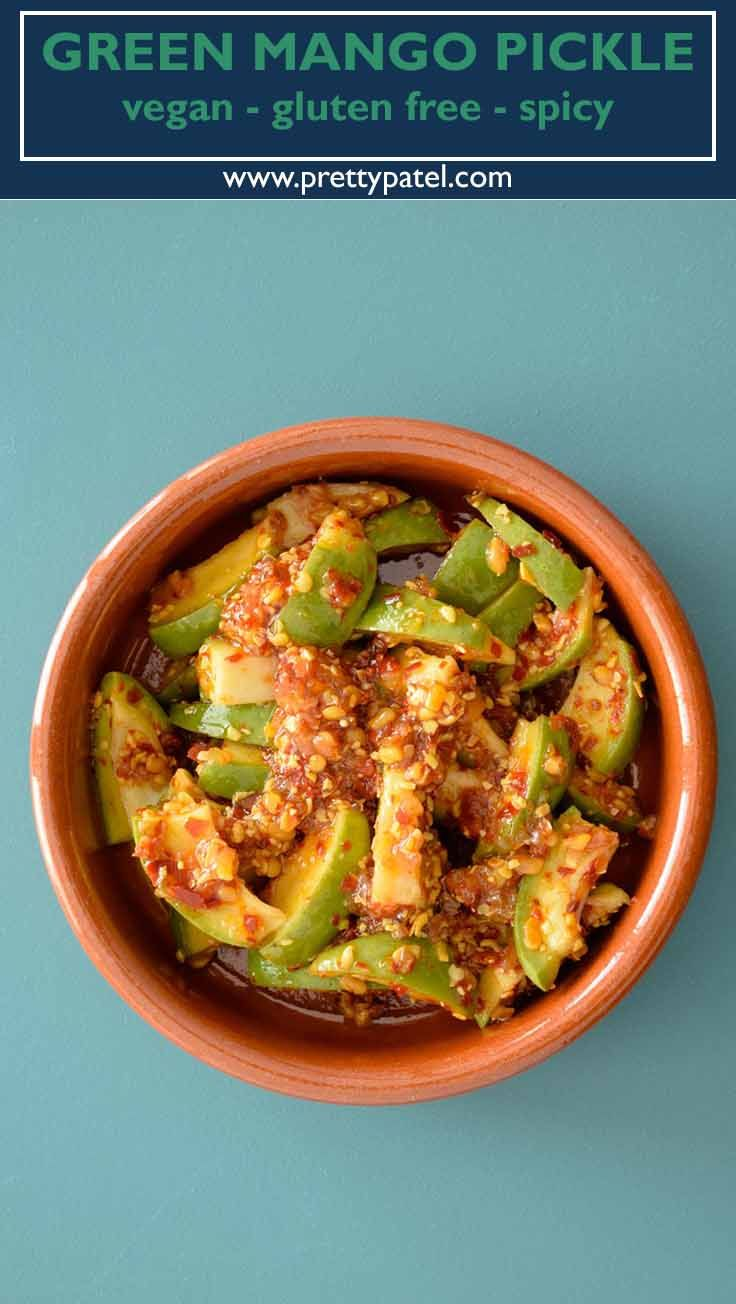 indian green mango pickle, pickle recipe, indian recipes, young mango, vegan, vegetarian, gluten free
