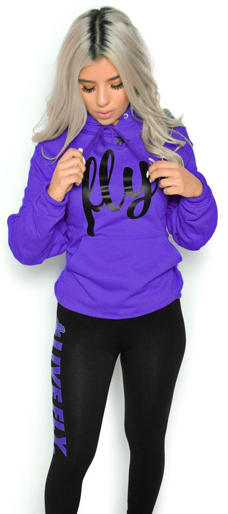 FOREVER LIVE FLY. OUTFIT: PURPLE HOODIE/BLACK LEGGINGS