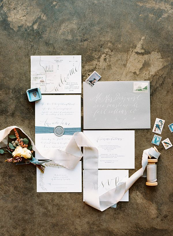 elegant calligraphy wedding stationery blue & grey