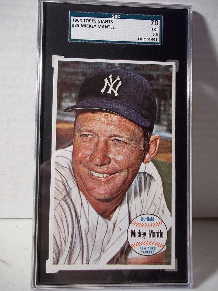 1964 Topps Giants Mickey Mantle SGC EX+ 5.5 Baseball Card #25 MLB HOF #NewYorkYankees