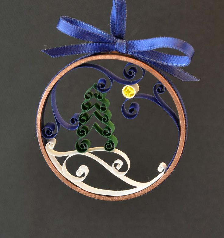 Christmas ornament winter tree quilled paper in copper ring