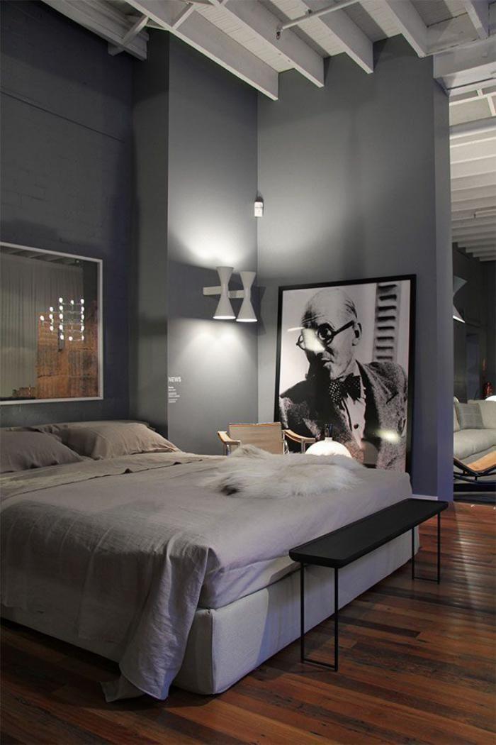 chambre coucher moderne appartement plan ouvert murs gris