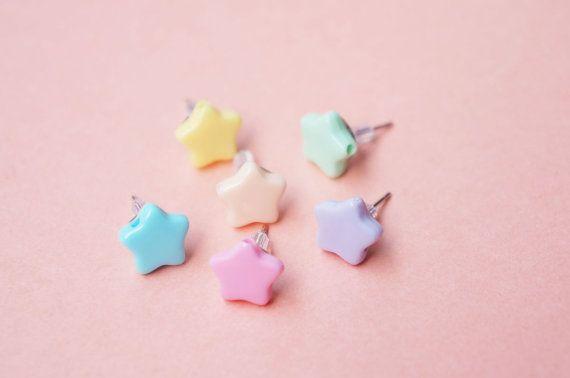 6 Pastel Star Earrings kawaii jewelry by supershygirl on Etsy