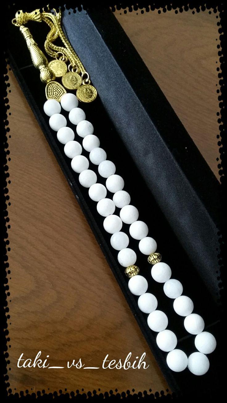 Beyaz onix erkek tesbihi... Handmade prayer beads...
