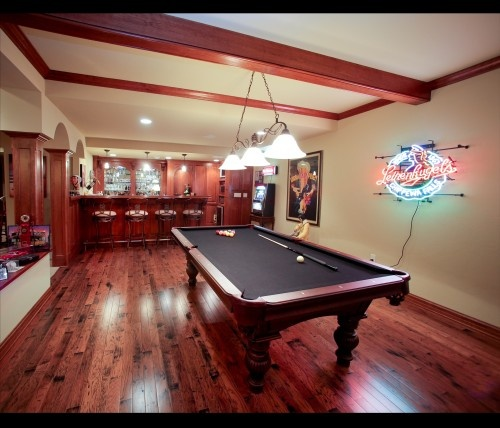 Recreation Room Design Ideas: Love The Wood Ceiling Beams & Divided Rec Wall