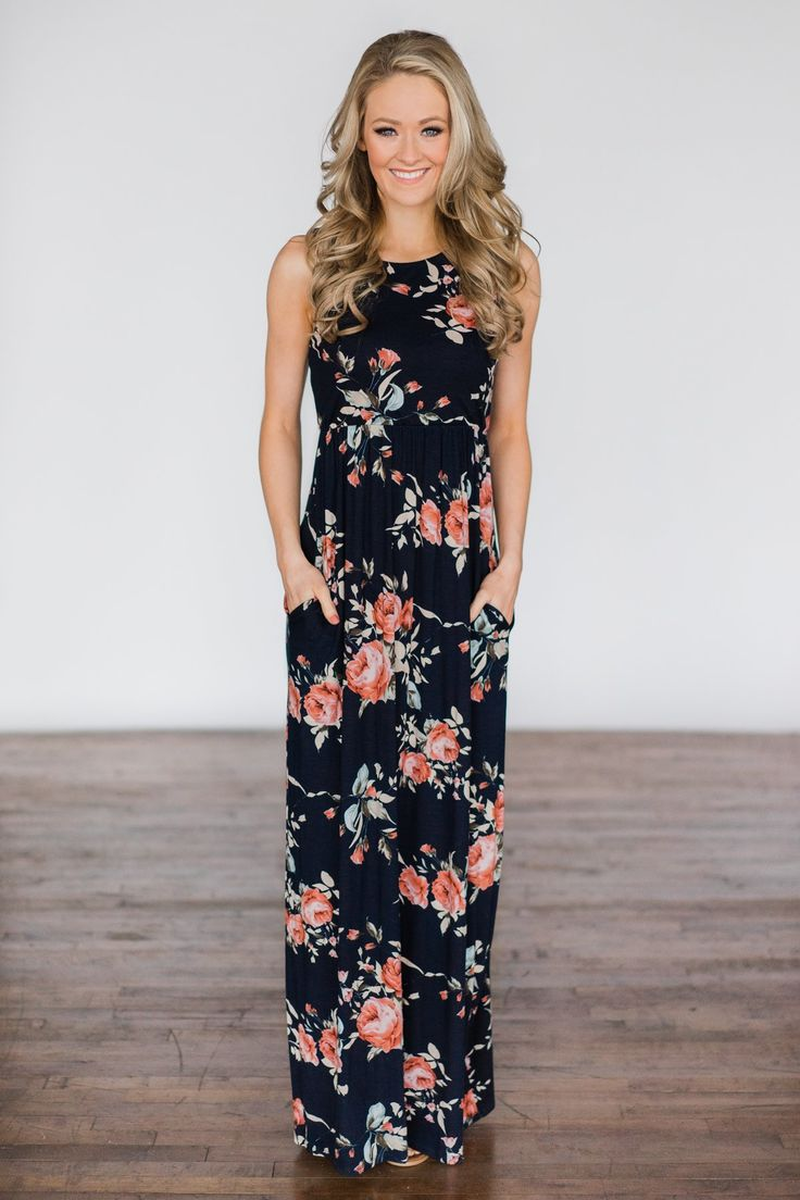 You Make Me Wanna Floral Maxi Dress ~ Navy – The Pulse Boutique
