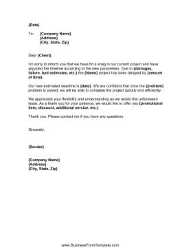 Written to appease and inform clients and customers, this sample business letter explains delays in a project or service. Free to download and print