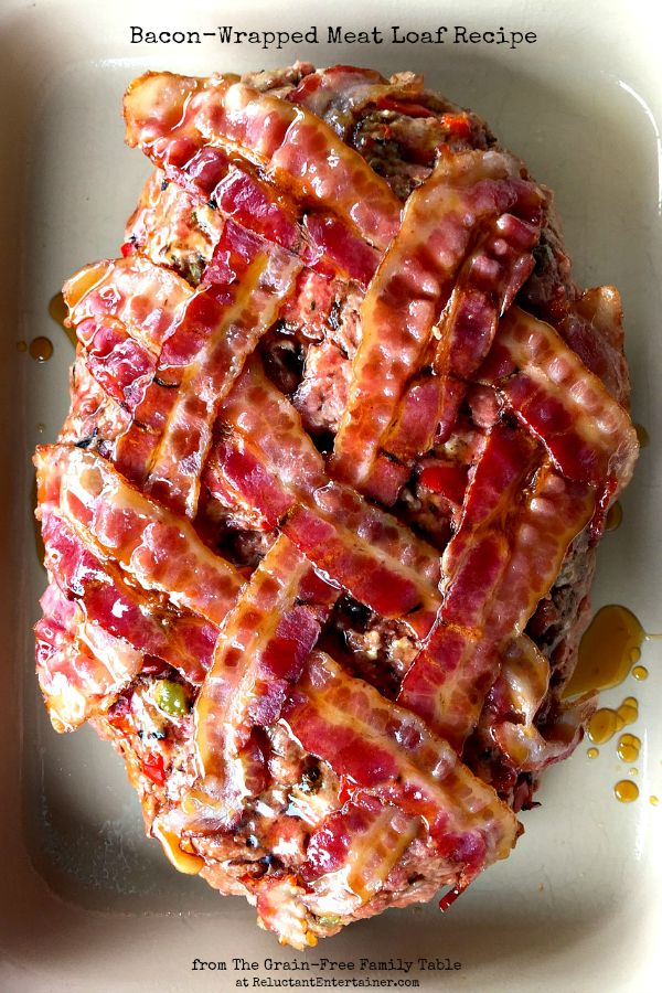 This Bacon-Wrapped Meat Loaf Recipe is from The Grain-Free Family Table cookbook ... at ReluctantEntertainer.com