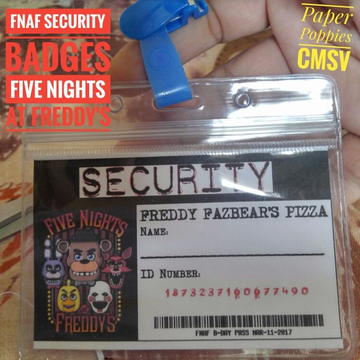 FNAF - Five nights at Freddy's -  Security Badges - Name Tags - Birthday - Party Favors