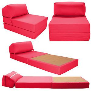 One Solution: COTTON Single Chair Bed Z Guest Fold Out Futon Sofa Chairbed  Matress Foam