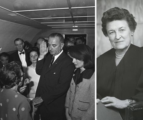 DG sister, Sarah Tilghman Hughes, Psi II-Goucher, was (and remains to this day February 2016) the only woman to have sworn in a U.S. president? You can see her in the bottom left of this well-known photo from November 1963, as she administers the U.S. presidential oath of office to Lyndon B. Johnson following the assassination of President John F. Kennedy.