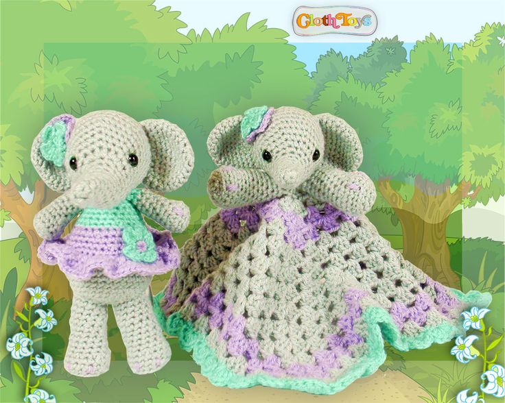 Crocheted ELEPHANT Lovey and Soft Toy Set, Ready to Post , Lilac & Green Elephant Blanket, Small Elephant Toy, Comforter,  Baby Shower Gift. by ClothToyCreations on Etsy