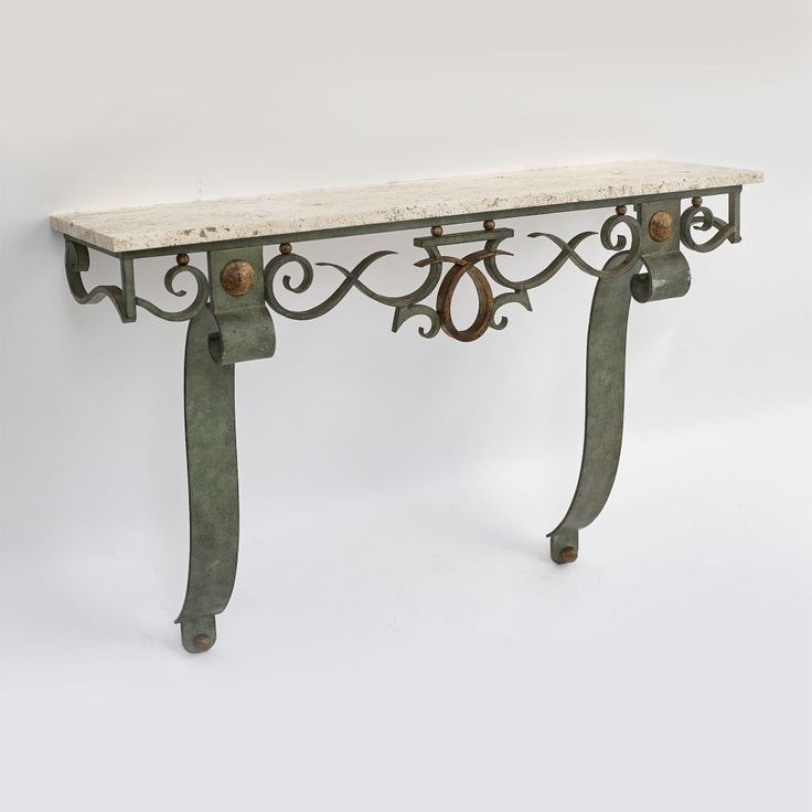 Gilbert Poillerat - French Wrought Iron Console Table with Verdigris & Gilt Patination with Travertine Top (circa 1935)