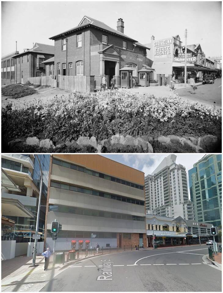 Victoria Ave West and Railway St, Chatswood c1920>2013. From Post Office to Telstra. [State Library NSW>Google Street View. By Jan Harkins]