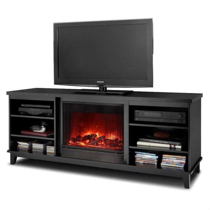 Real Flame Eli Electric Fireplace TV Stand Black