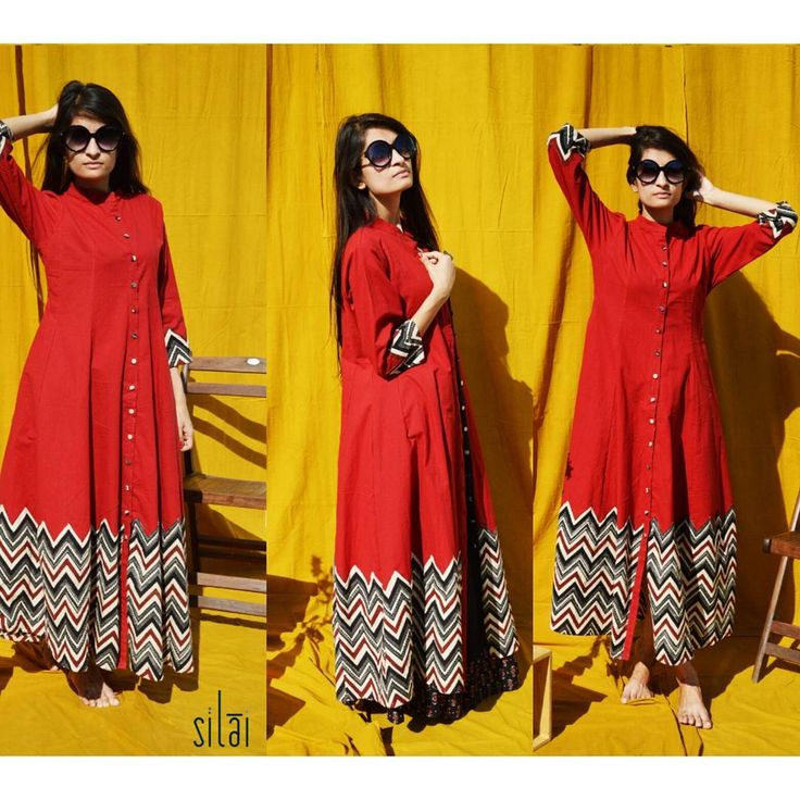 #silai #red #zigzags #black #blockprints #maxi #kalidar #styleitasyouwant #instafashions #instapics #contemporaryclothing #onlineshopping #fashionistas #lategram