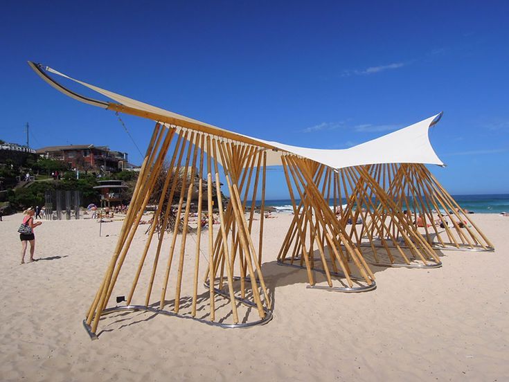 A sculpture entitled 'bamboo waves' on the coast of Sydney, Australia.