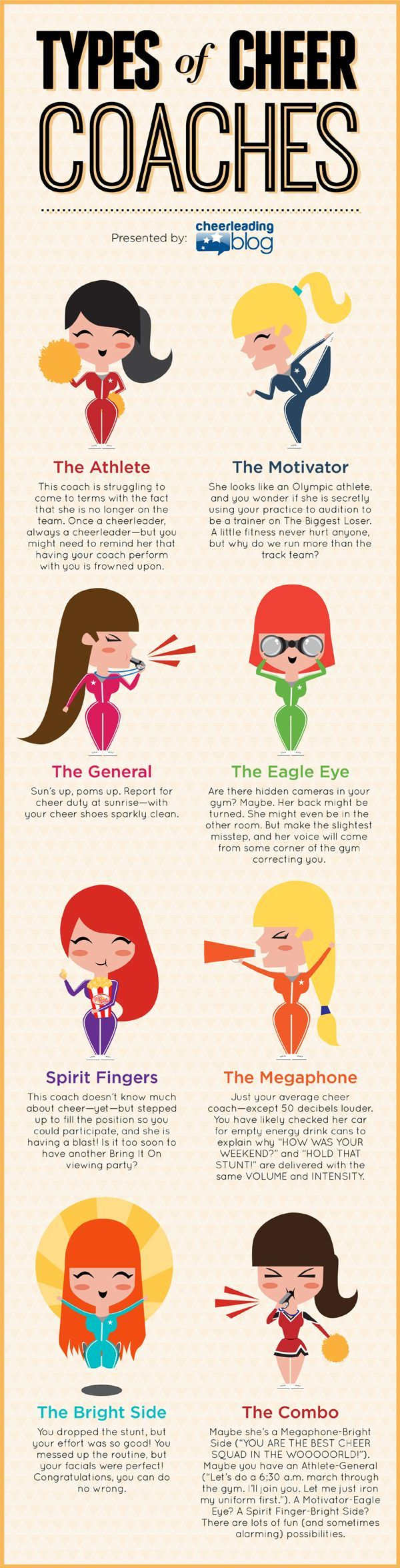 Types of Cheer Coaches - It would be cute to have the cheerleaders pick the type of coach they are looking for (like a quiz, pick 1, 2, 3) so that way the coach can make sure she is matching what her team wants #soccerinfographic