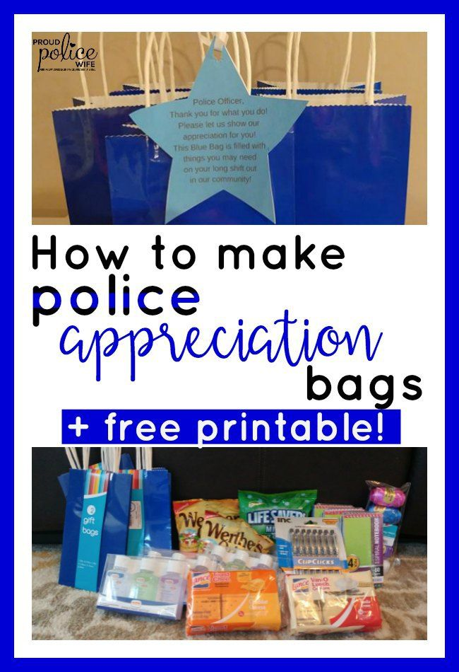 How To Make Blue Bags For Police Week A Free Printable Police Appreciation Police Officer Gifts Police Gifts