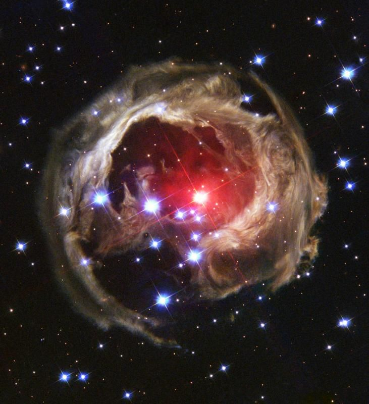 V838 Monocerotis is a red variable star in the constellation Monoceros about 20,000 light years from the Sun.  Also known as Starry Night, so named because it reminded astronomers of the Vincent van Gogh canvas. It is a halo of light around a star in the Milky Way.