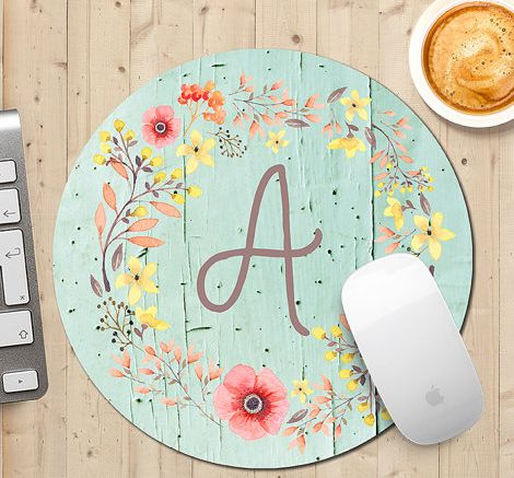 floral mint custom mousepad