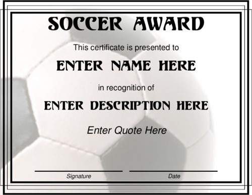 Award Certificate Templates | Soccer Award in black and ...