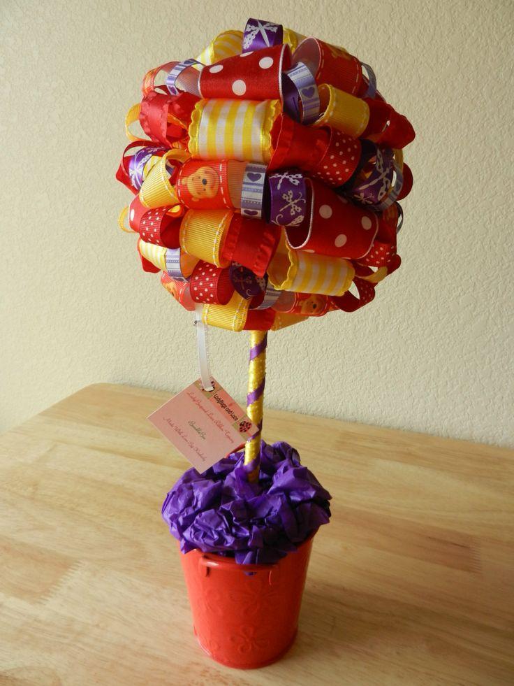 Winnie The Poo Ribbon Topiary Honey Bee by LadyBugzandLace on Etsy, $40.00