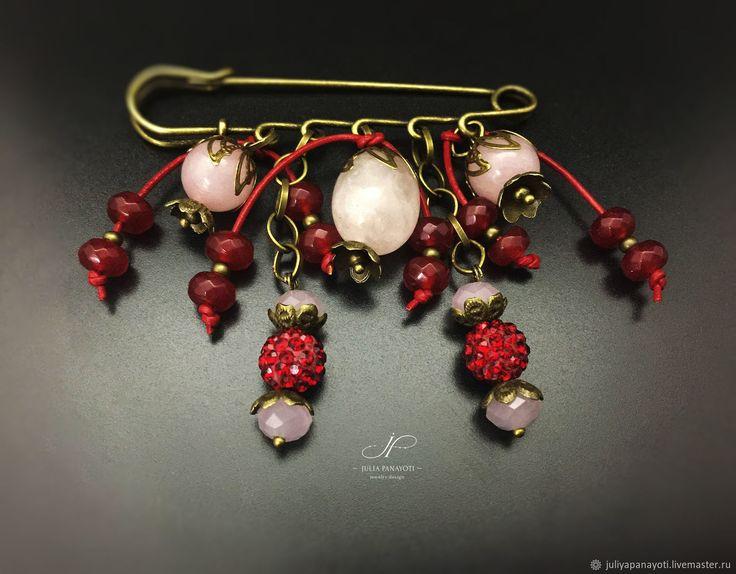 """Купить Брошь - булавка и серьги """"Кармен"""" с розовым кварцем - бордовый, смешанная техника, универсальное украшение"""