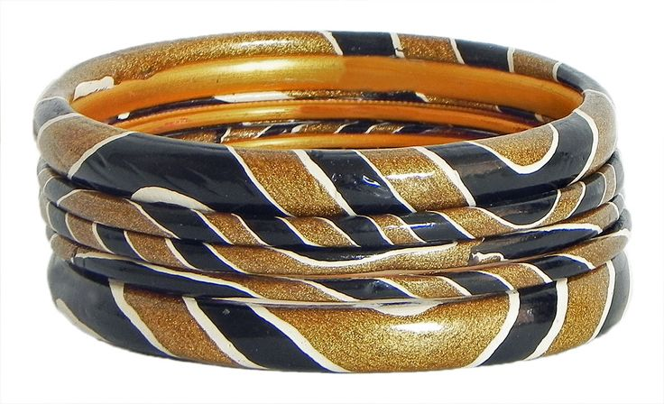 Black and Golden Yellow Painted Saffron Lac Bangles (Lac)