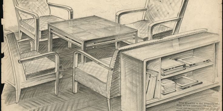 Fred Ward: Design drawing, pencil on paper, four easy chairs and coffee table, design by Fred Ward for Myer Emporium, Melbourne, Victoria, 1931-1949