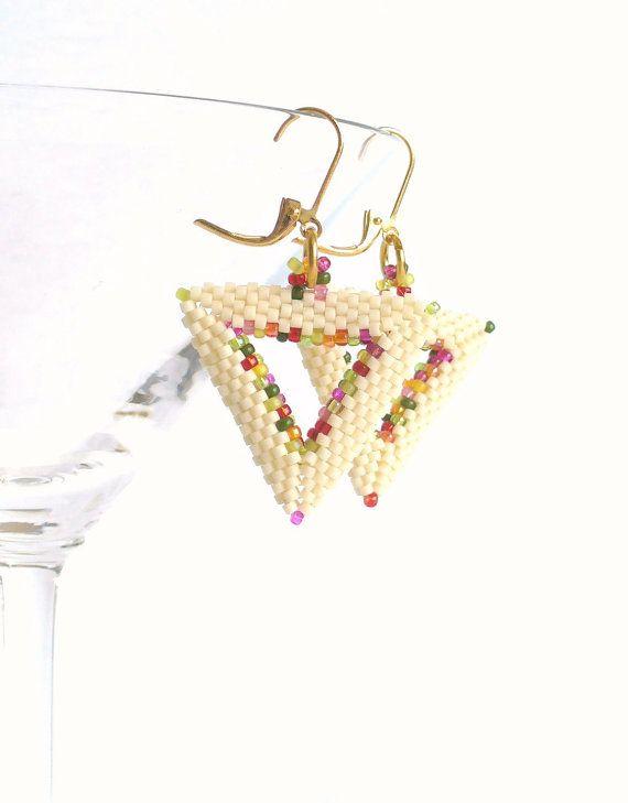 Modern Beige Earrings, Beaded Triangle Earings, Cut Out Shapes, Geometric Dangle Earrings with Leaver Back Hooks - Etsy UK Seller