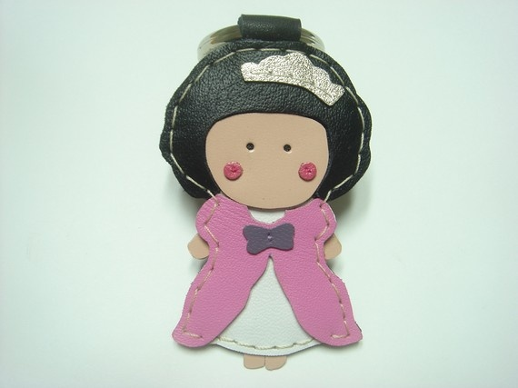 Lovely Princess Kelly leather keychain  Pink  by leatherprince, $22.90