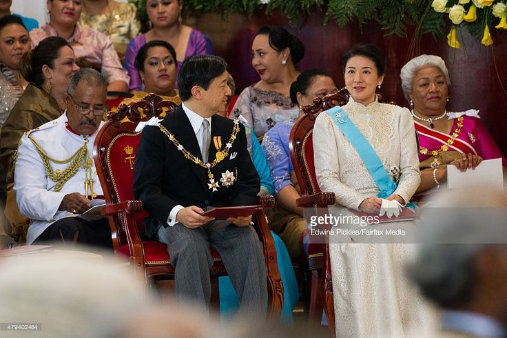 Crown Prince Naruhito and Crown Princess Masako of Japan attend the official coronation ceremony for King Tupou VI of Tonga and Queen Nanasipau'u at the Free Wesleyan Church on July 4, 2015 in Nuku'alofa, Tonga. Tupou VI succeeds his brother, King Tupou V, who passed away in 2012. (Photo by Edwina Pickles/Fairfax Media/Getty Images)