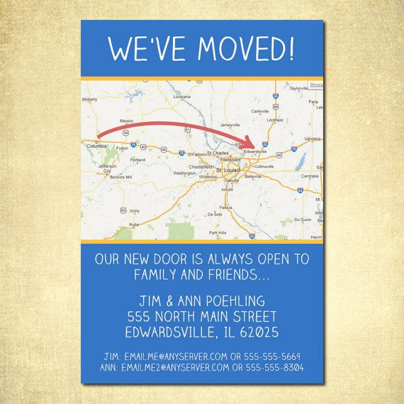 Moving Announcement  - Change of Address  - New Home - New Address - Custom Printable DIY Card
