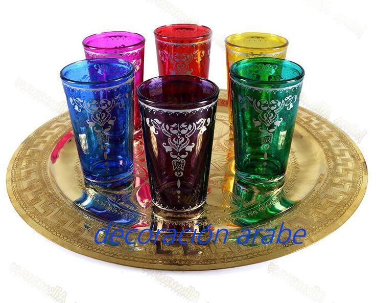 Juego de 6 vasos para beber té: tiene en un juego de 6 vasos, cada uno de un color.    Están grabados y tienen relieve, de muy buena calidad.    Ideal para servir el té con hierbabuena y té verde, infusiones, roibos.