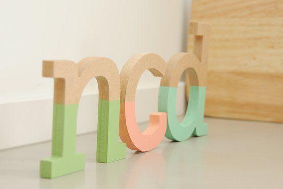 Half Painted Wooden Lowercase Letter 10cm 4 Nursery Room