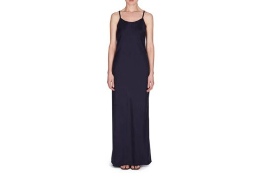 Just throw on this midnight satin slip dress and go.