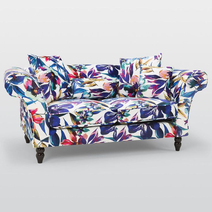 Fabric 2 Seater Sofa Foam Cushions Patterned Seat Contemporary Living Room Large