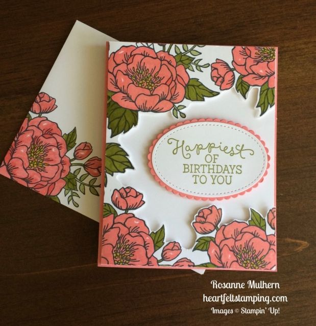 Stampin Up Birthday Blooms Birthday card - Rosanne Mulhern stamping https://heartfeltstamping.com/2017/03/beautiful-birthday-blooms/