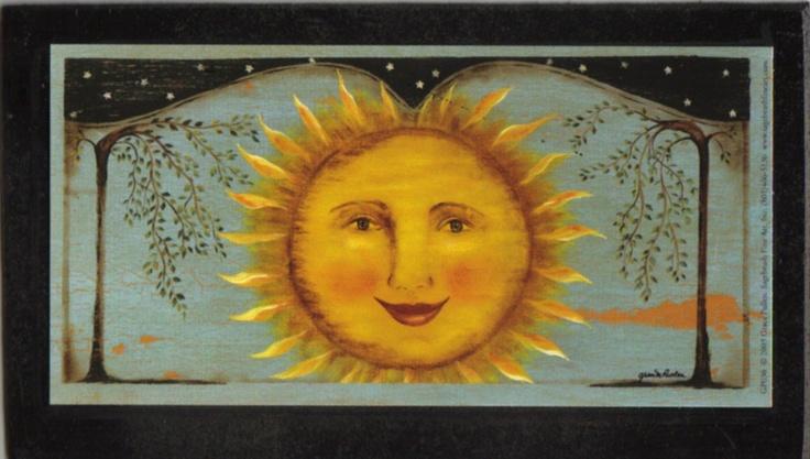 Primitive Folk Art ~ Sun face celestial wood sign