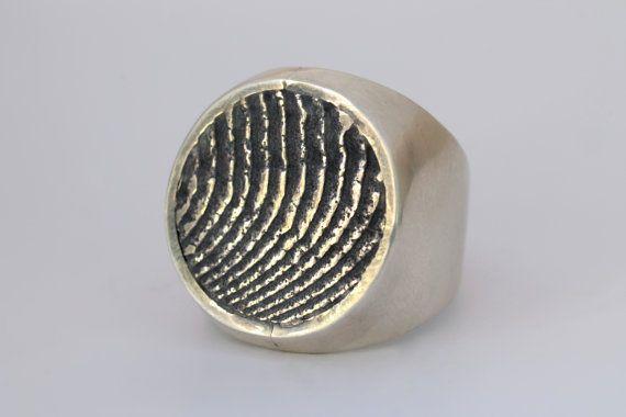 Anello in argento 925 da sigillo con di NaturalGeometry su Etsy