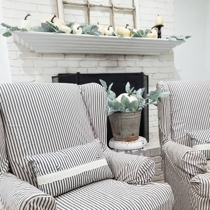 """Ticking Slipcovers 
