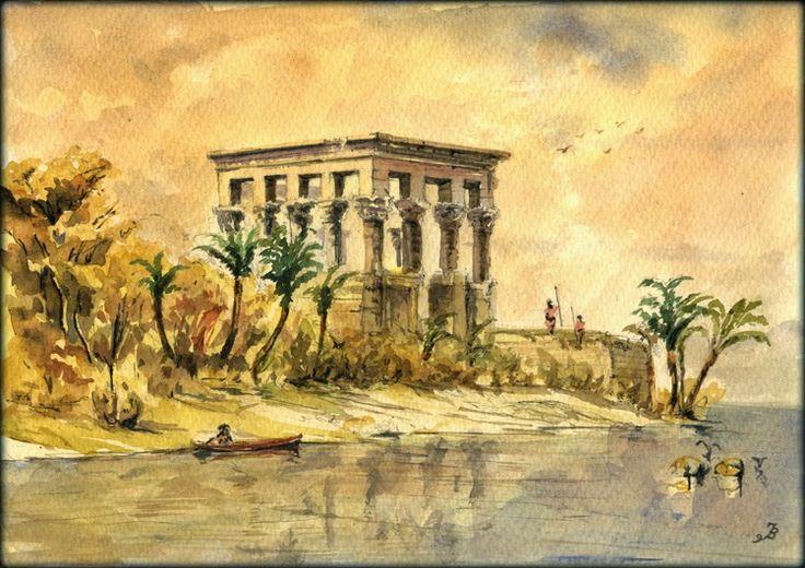 Aswan original watercolor painting by Juan Bosco 11 by 8 inches (29x21cm) | MutualArt